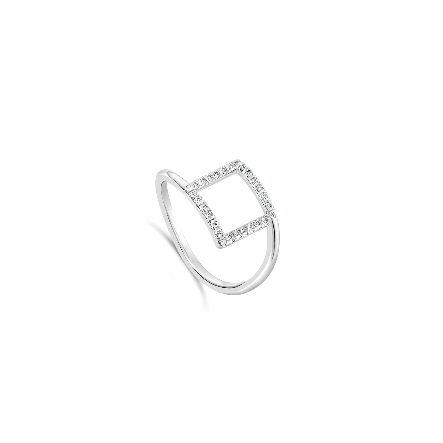 Bague Carre Or Blanc