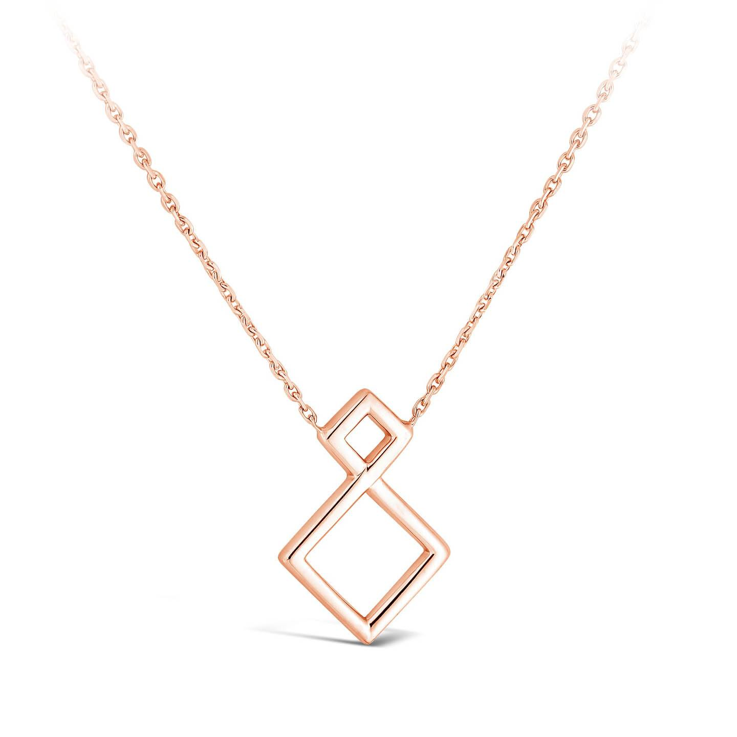 Collier Losange diamant or rose