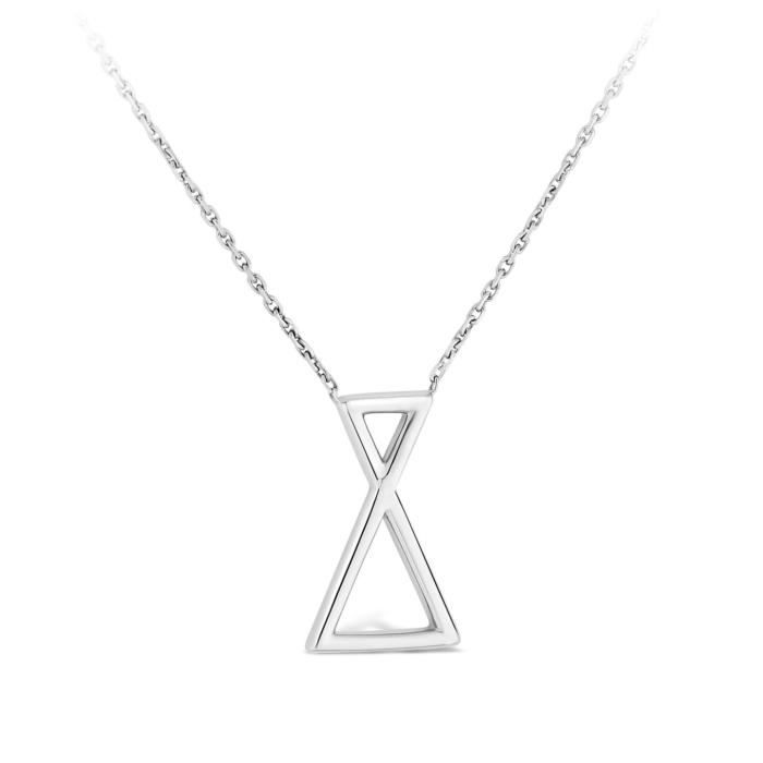 Collier Triangle - Or blanc et diamant