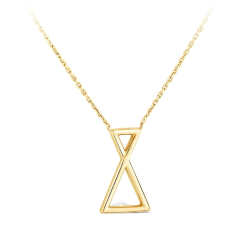 Collier Triangle et diamant or Jaune