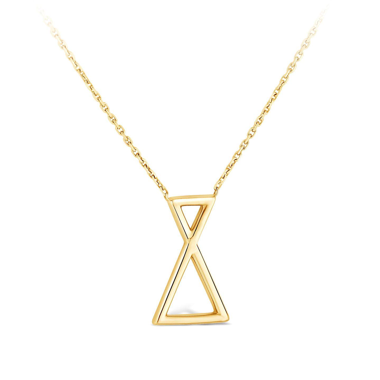 Collier Triangle et diamant or Jaune
