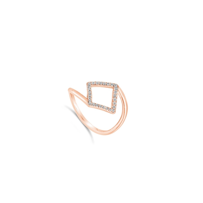 Bague losange pavee or rose