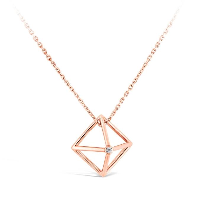 #40R Collier Losange et diamant or rose