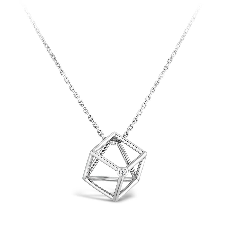 Collier Cube et diamant or gris