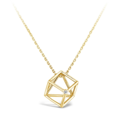 Collier Cube et diamant or jaune