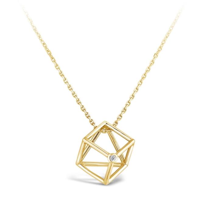 Collier Cube et diamant or jaune