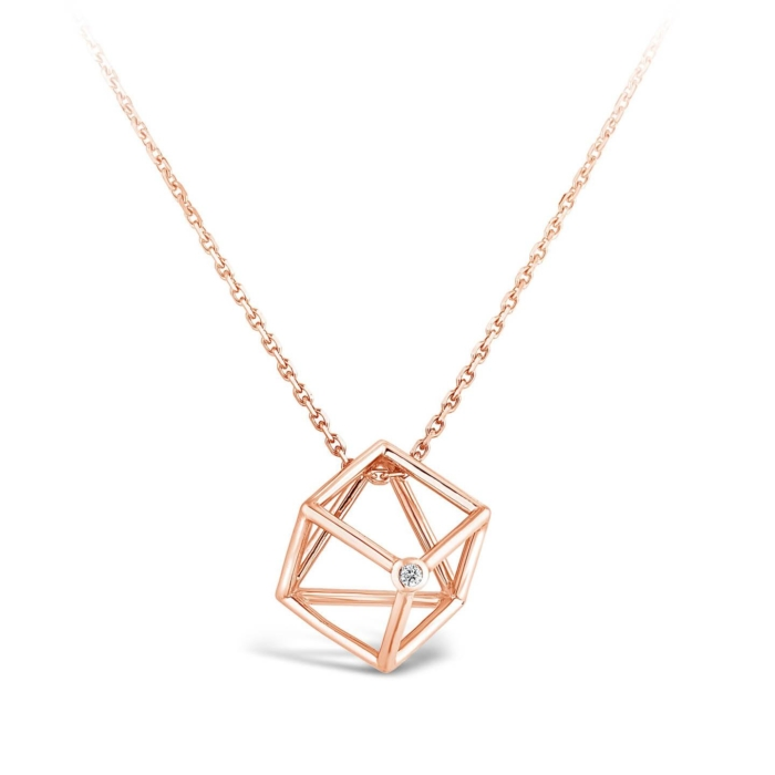 Collier cube or rose et diamant