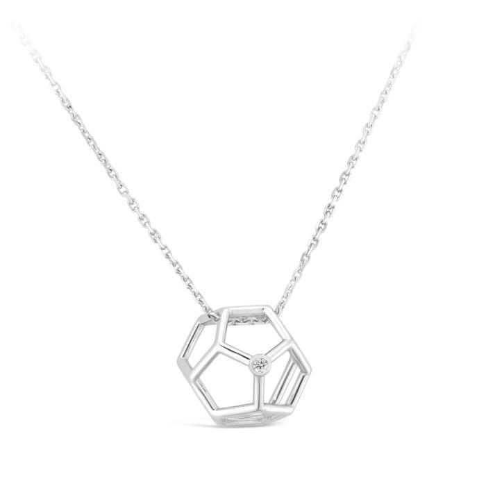 Collier Pentagonale et diamant or blanc