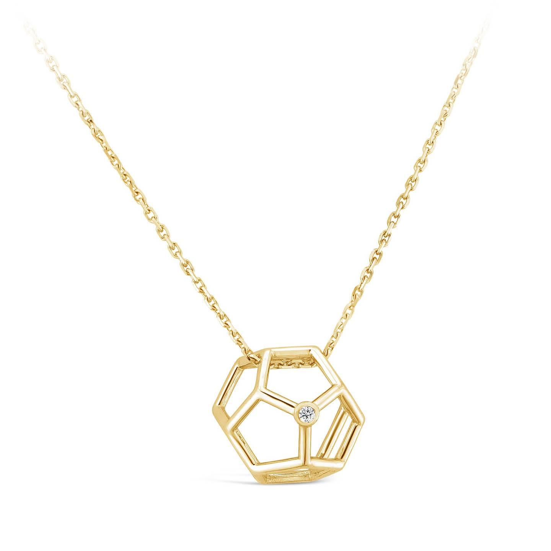 Collier Pentagonale et diamant or jaune