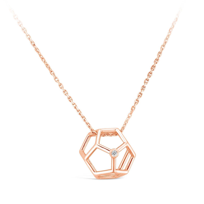 Collier Pentagonale et diamant or rose