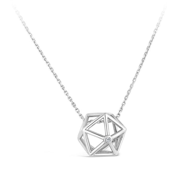 Collier Icosaedre et diamant or blanc