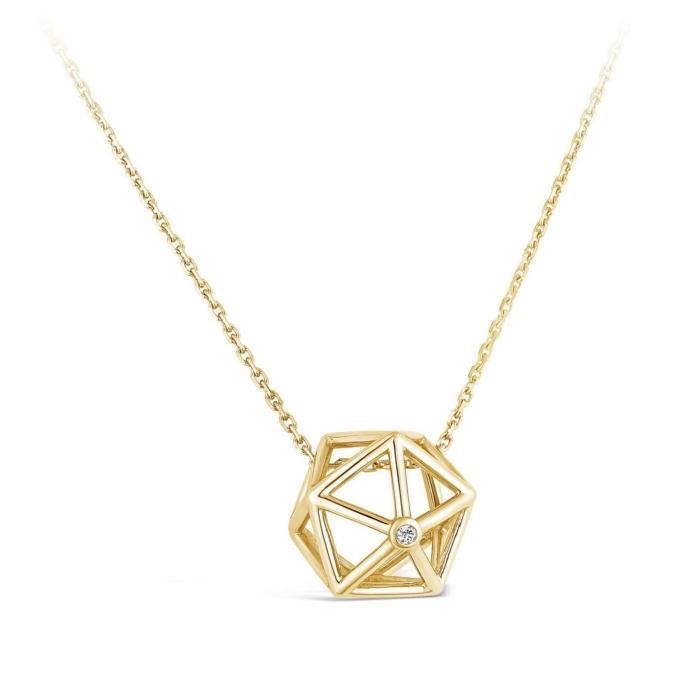 Collier Icosaedre et diamant or jaune