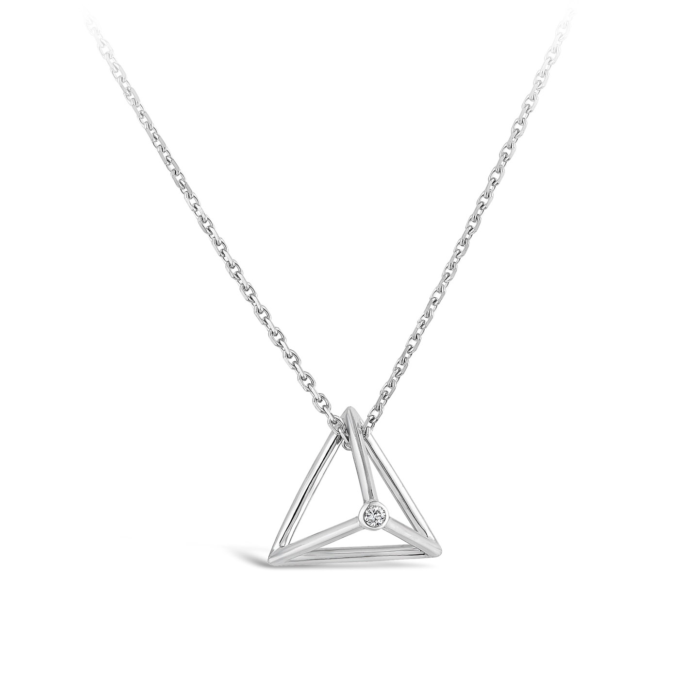 Collier Pyramide Et diamant or blanc