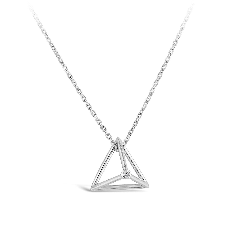 Collier Pyramide Et diamant or blanc