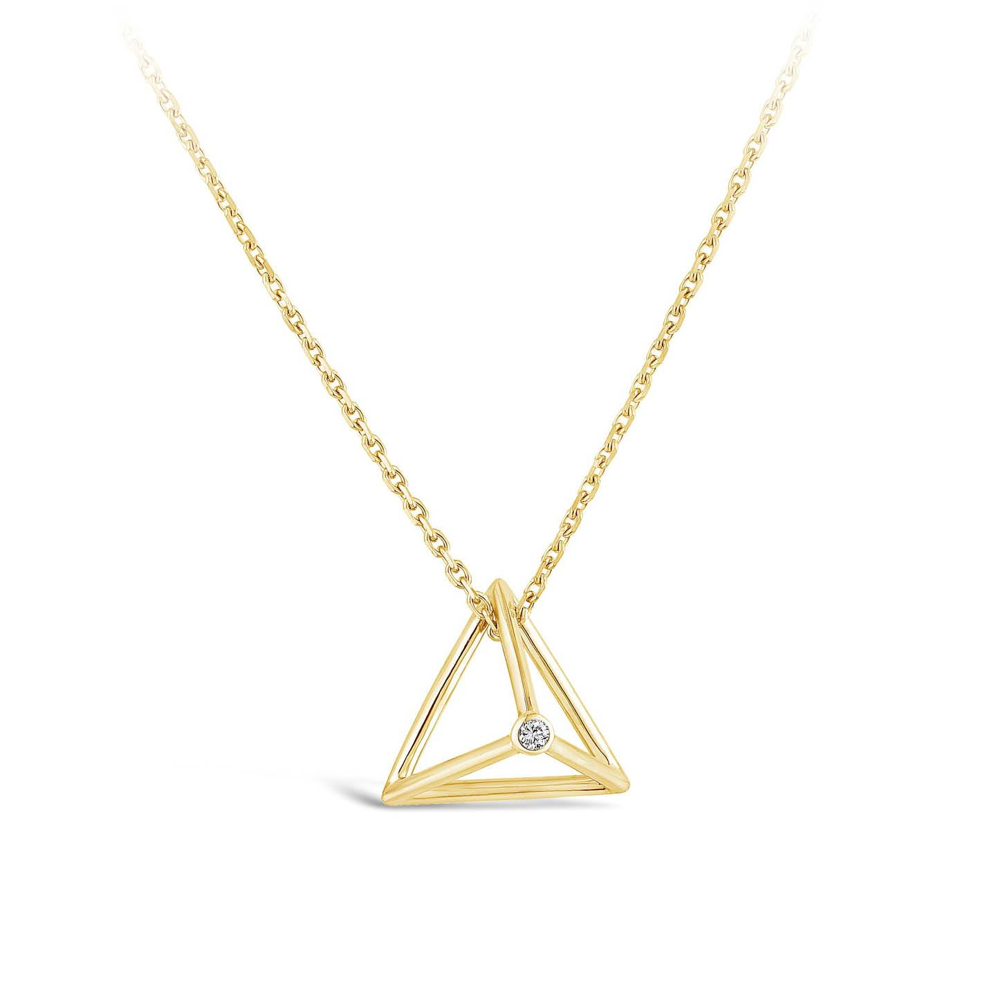 Collier Pyramide - Diamant or jaune