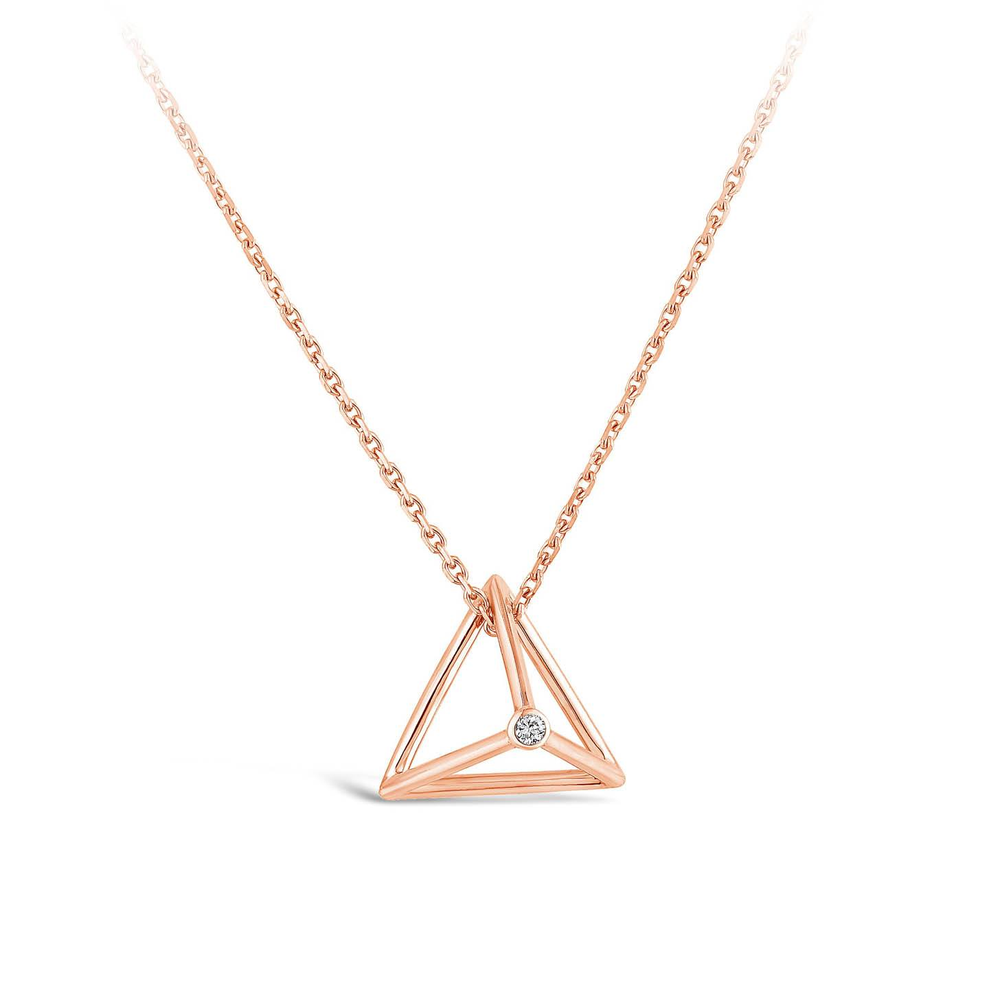 Collier Pyramide Et diamant or rose