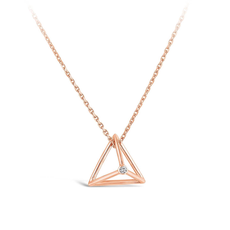 Collier Pyramide Et diamant or rose