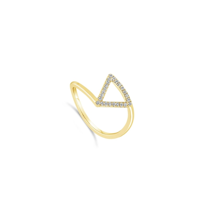 Bague Triangle Pavee Or jaune