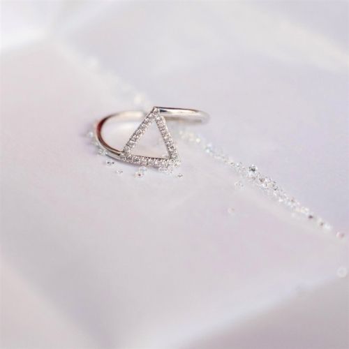 Bague triangle - Pavée or rose