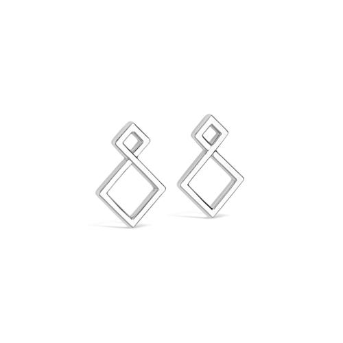 Boucles oreilles - Les Losanges or blanc