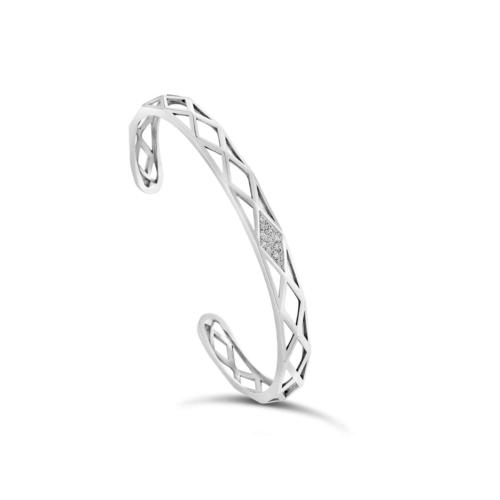 Bracelet facettes en argent rhodie or blanc et diamants