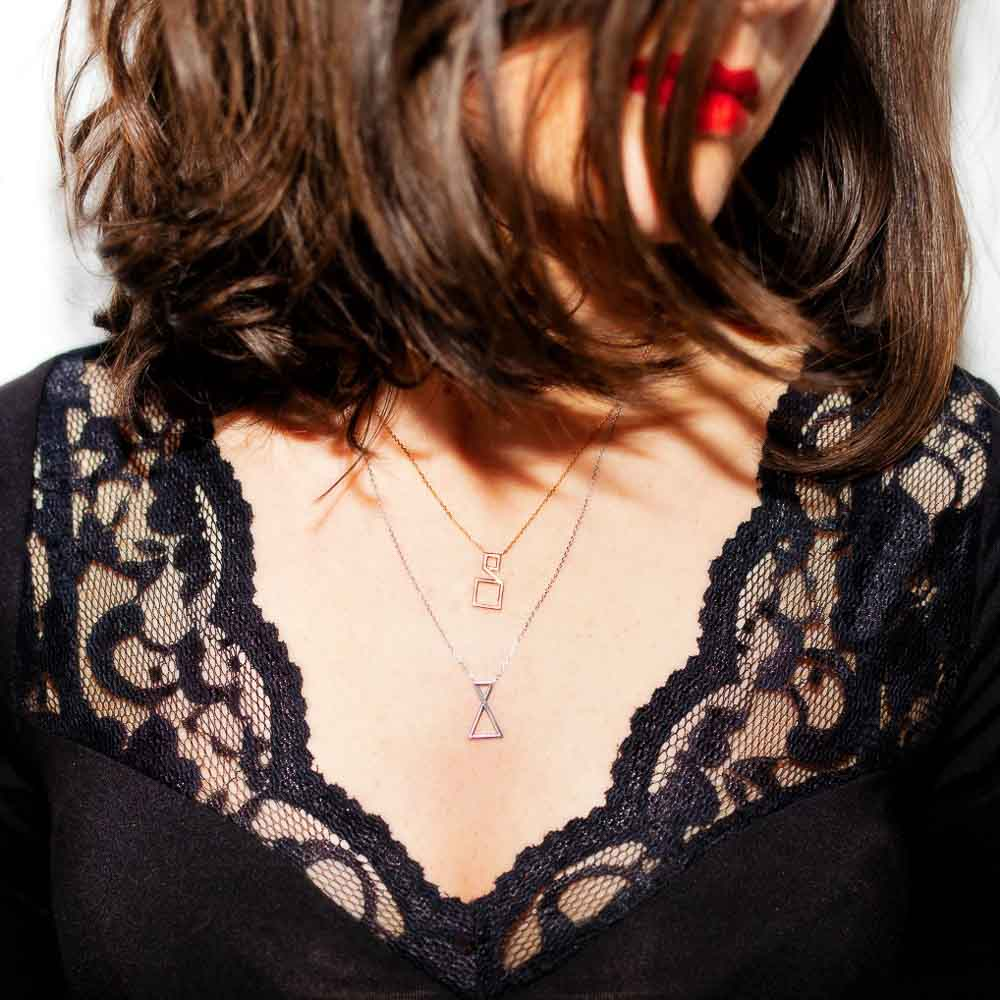 Collier Triangle - Or blanc et diamant