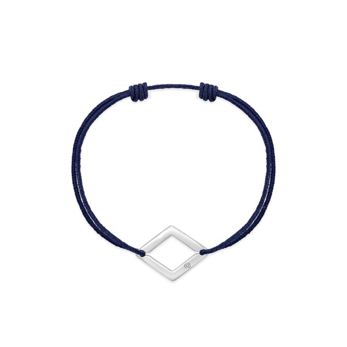 bracelet cordon bleu marine losange or gris