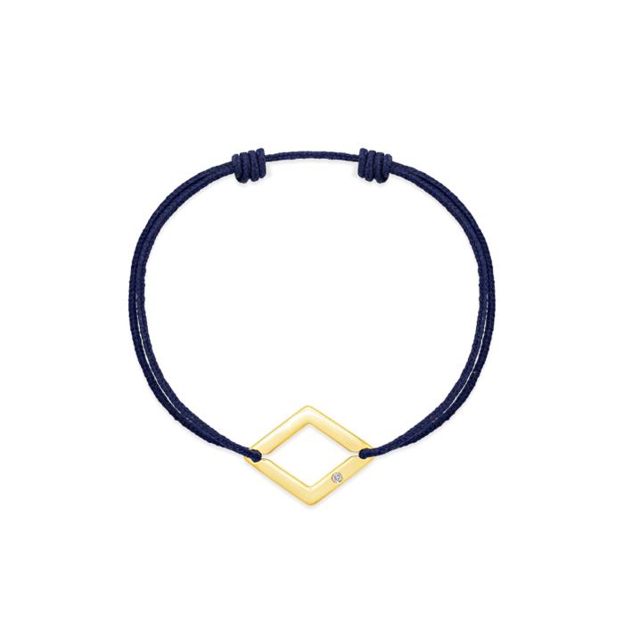 bracelet cordon bleu marine losange or jaune