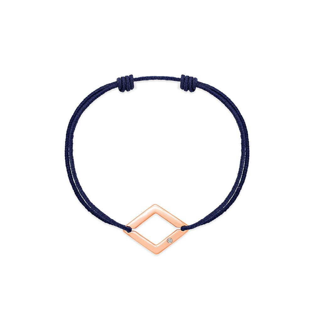 bracelet cordon bleu marine losange or rose