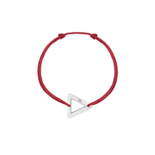 bracelet cordon rouge triangle or gris
