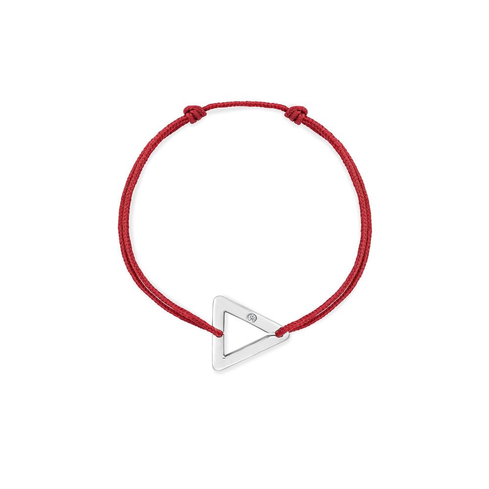 bracelet cordon rouge triangle or gris
