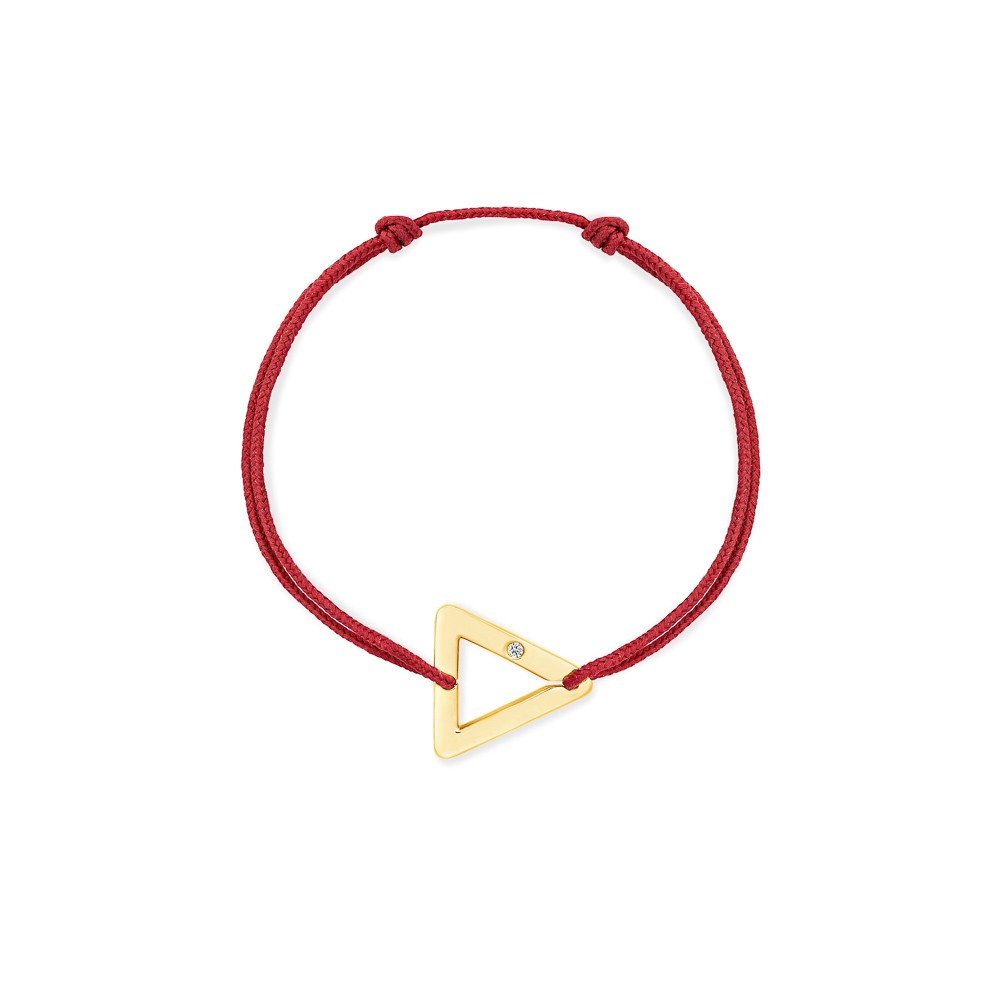 bracelet cordon rouge triangle or jaune