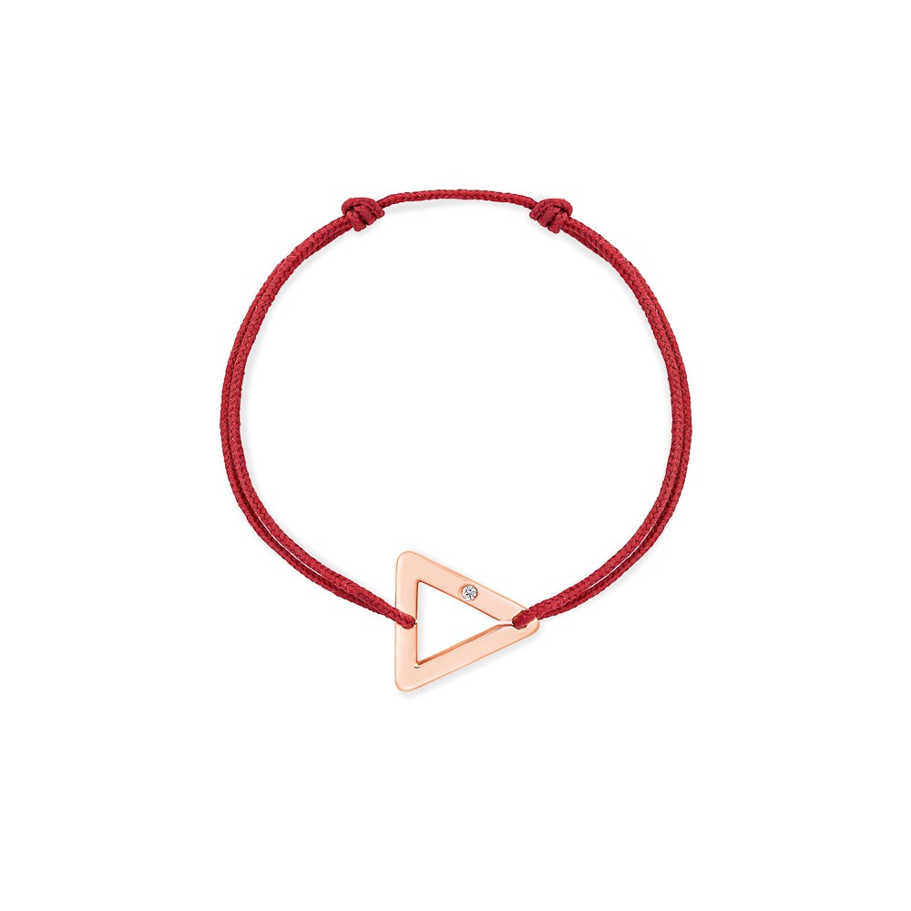 bracelet cordon rouge triangle or rose