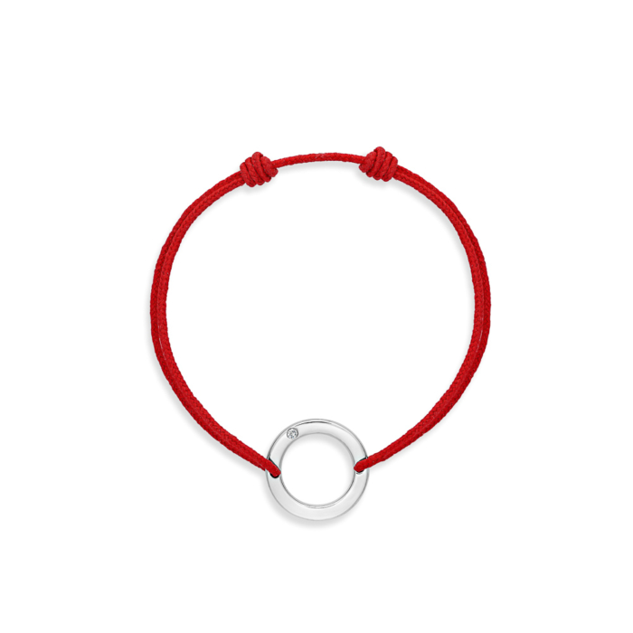 bracelet cordon rouge rond or gris