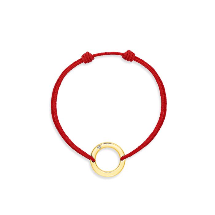 bracelet cordon rouge rond or jaune