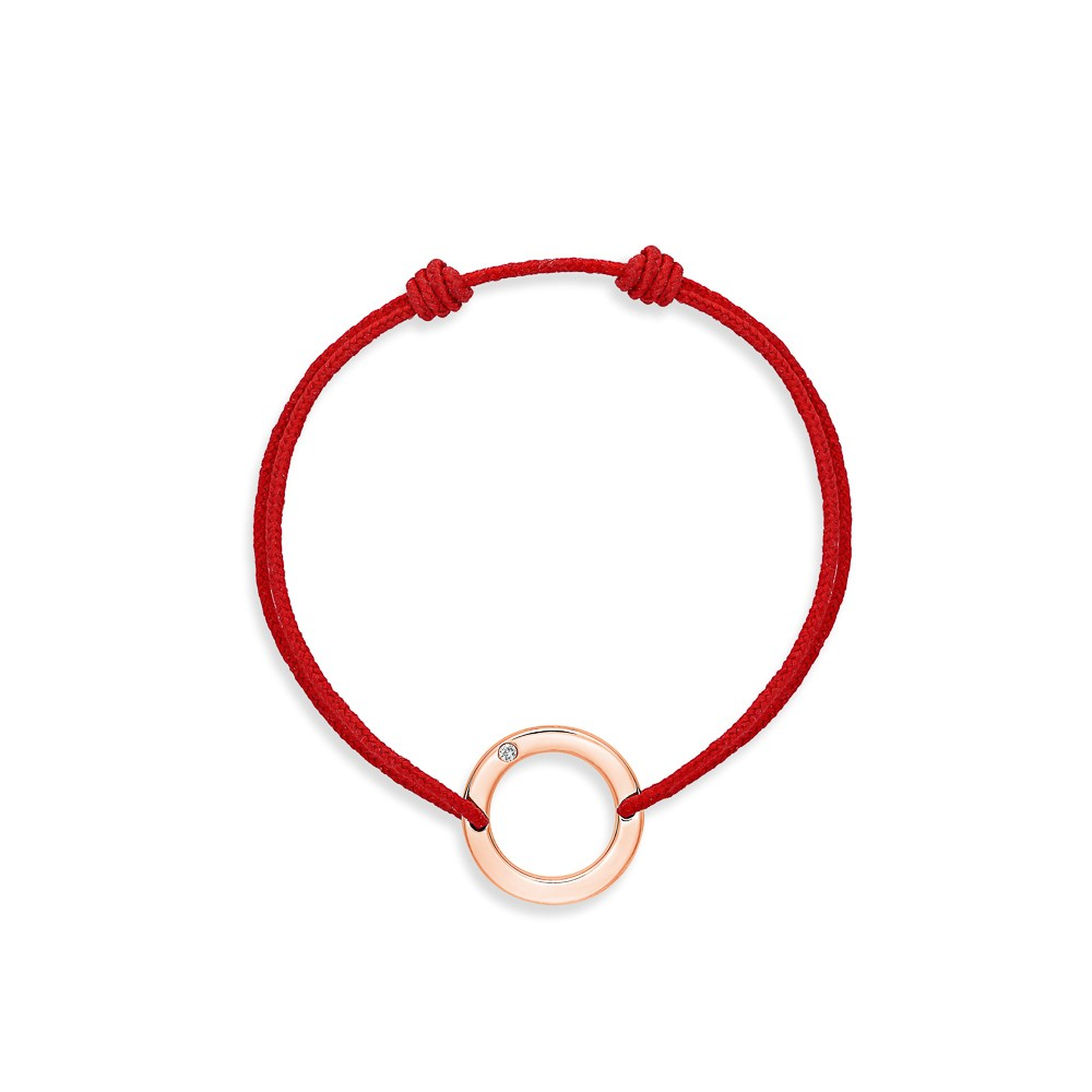 bracelet cordon rouge rond or rose