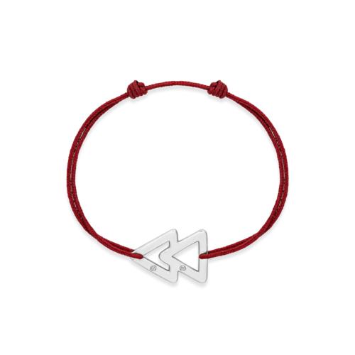 bracelet cordon bordeaux or gris