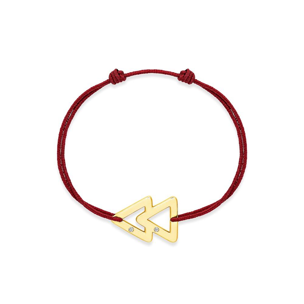 bracelet cordon bordeaux or jaune