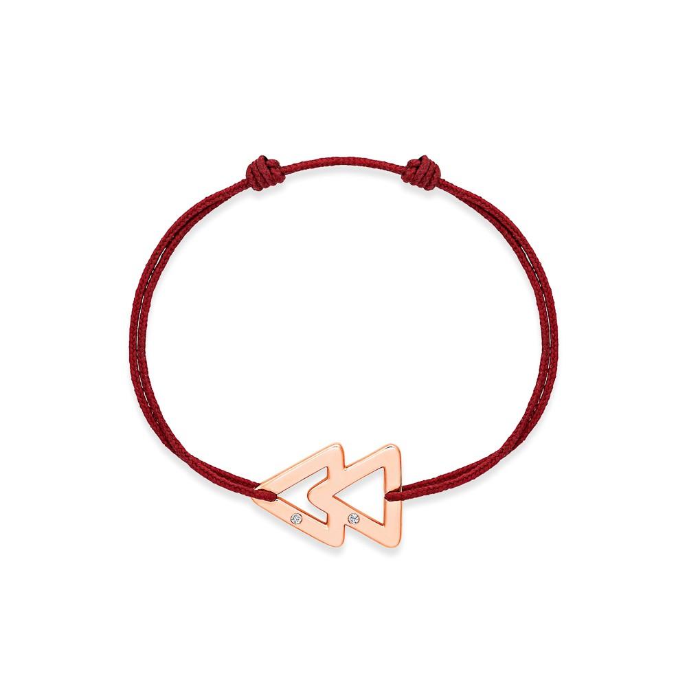 bracelet cordon bordeaux or rose