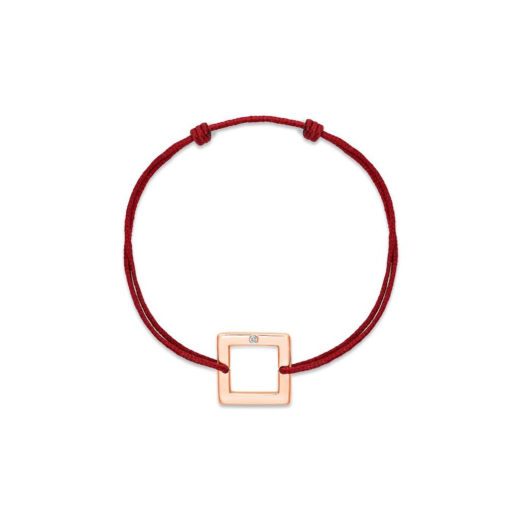 bracelet cordon Carré Or rose 1 diamant